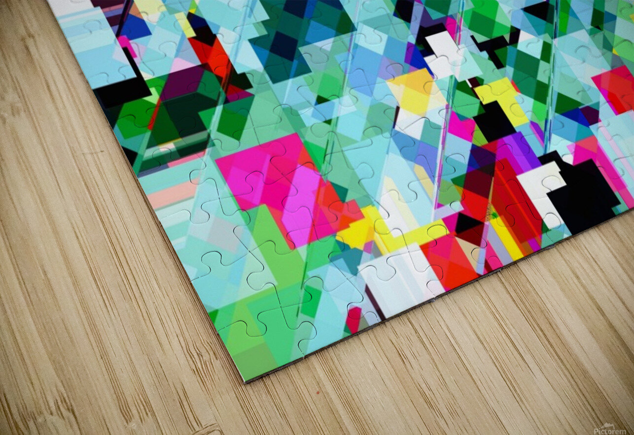 geometric square pixel pattern abstract in green pink blue yellow HD Sublimation Metal print