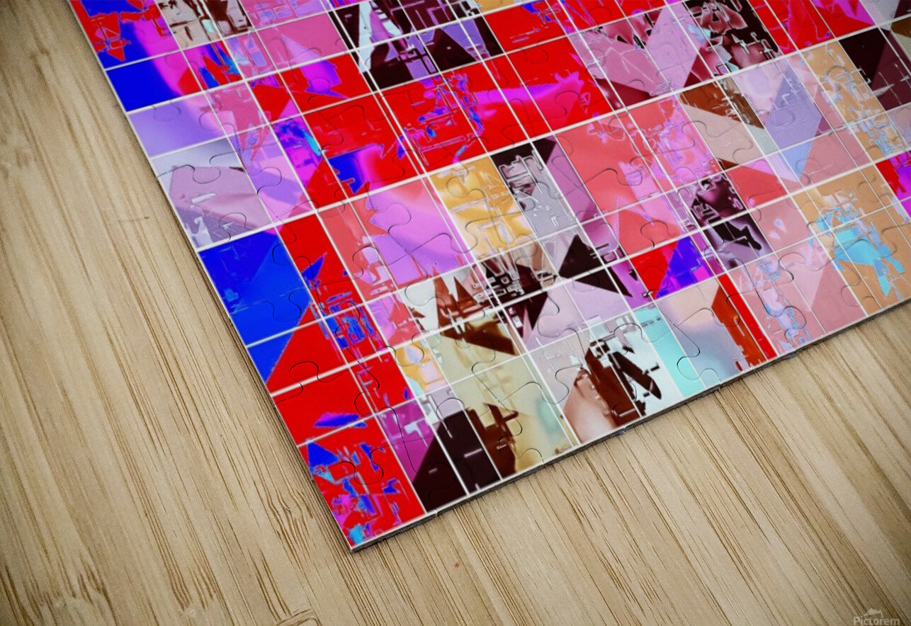 geometric square and triangle pattern abstract in red pink blue HD Sublimation Metal print