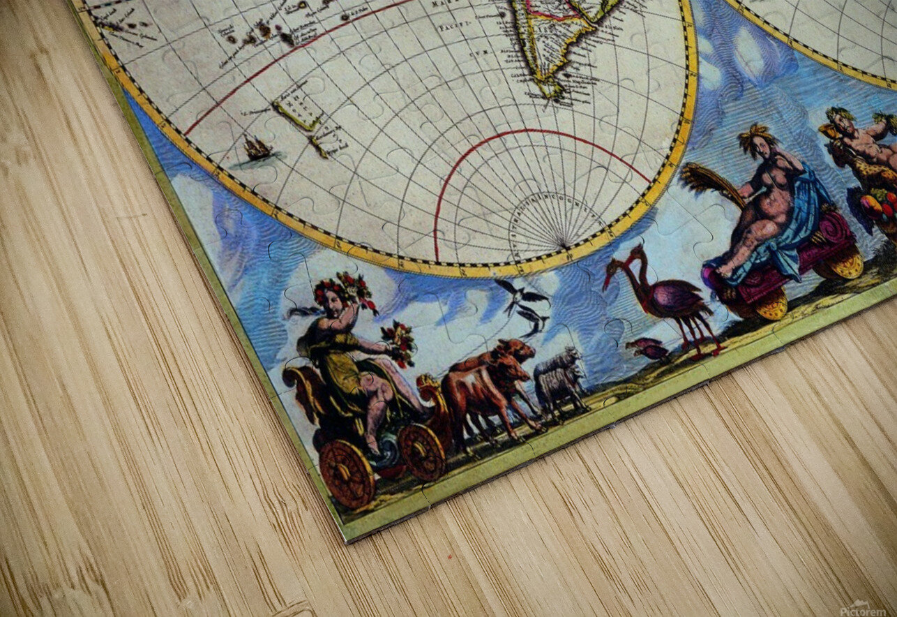 Antique map old map history globe earth maps historical map drawing old map of the world  HD Sublimation Metal print