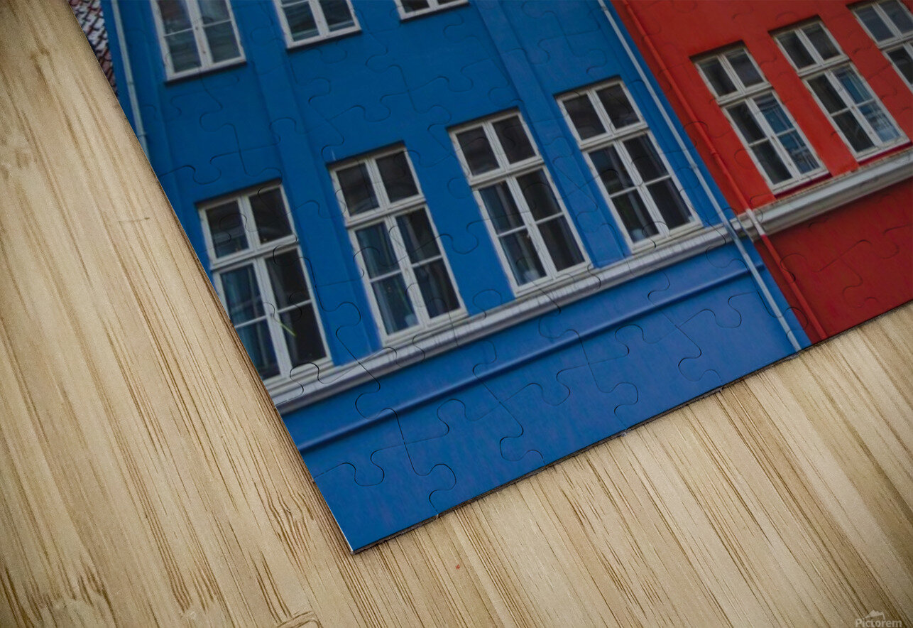 The red and blue house in Copenhagen HD Sublimation Metal print