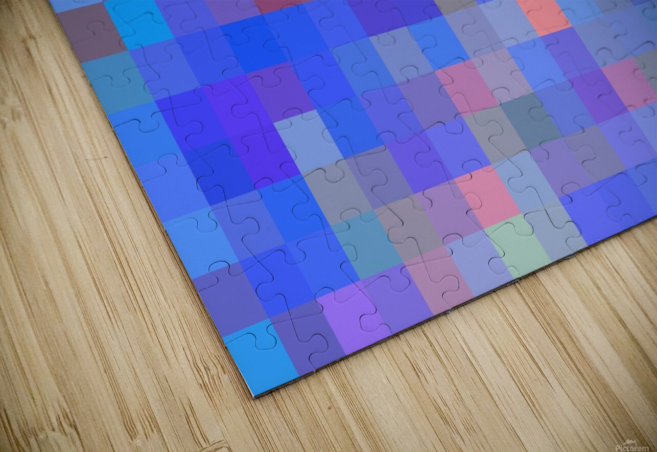 geometric square pixel pattern abstract in blue and pink HD Sublimation Metal print