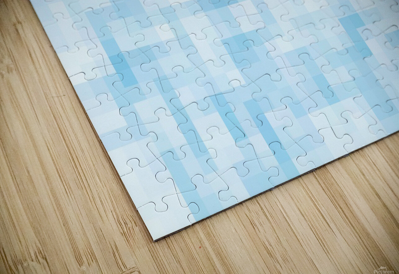 geometric square pixel pattern abstract in blue HD Sublimation Metal print
