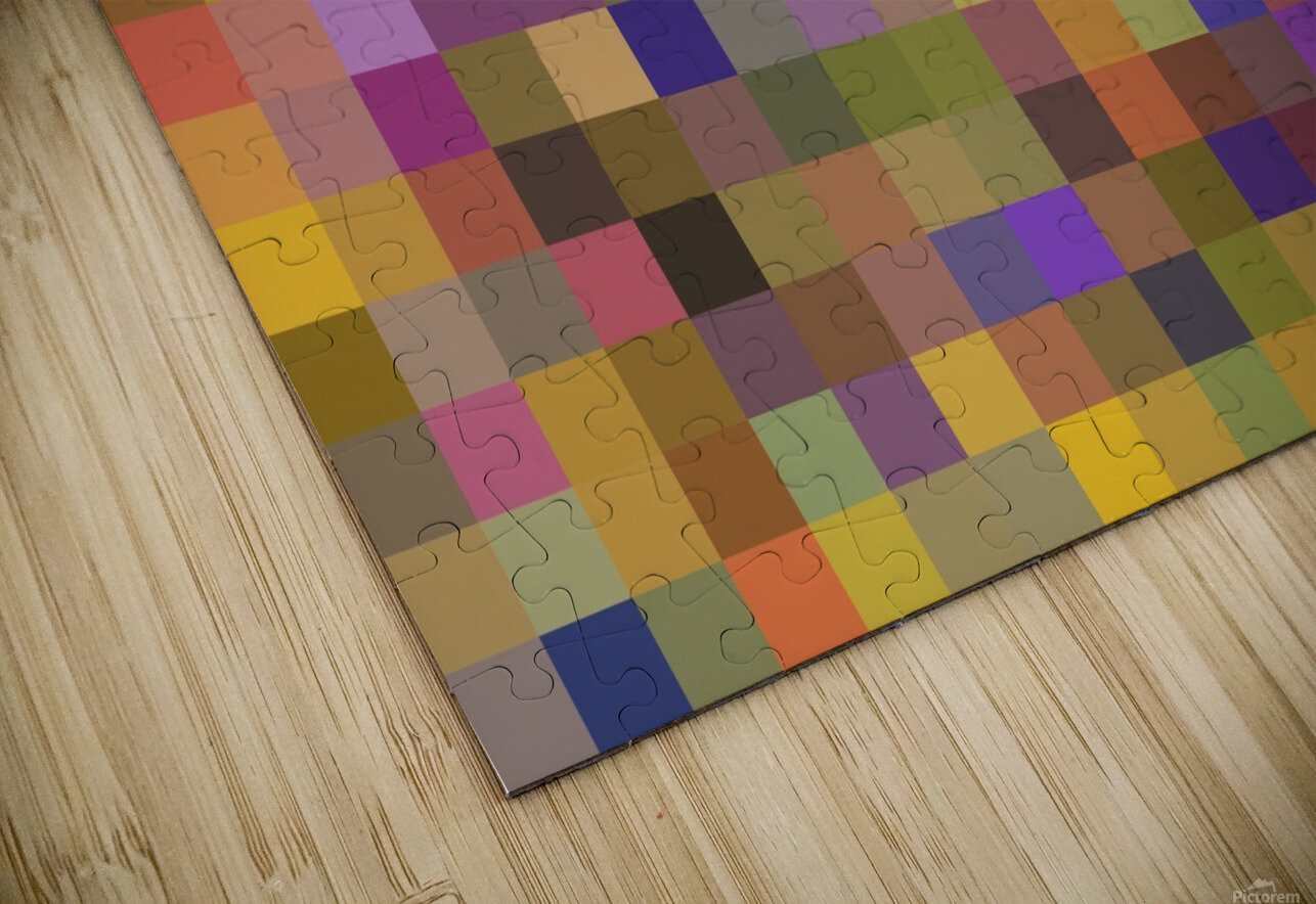 geometric square pixel pattern abstract in yellow green purple HD Sublimation Metal print
