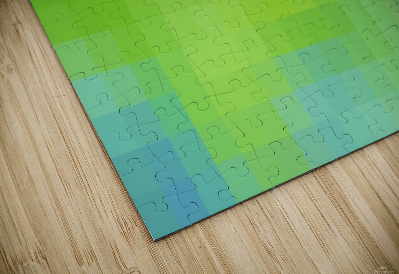 Abstract Pixel Art - blue and green 2 HD Sublimation Metal print