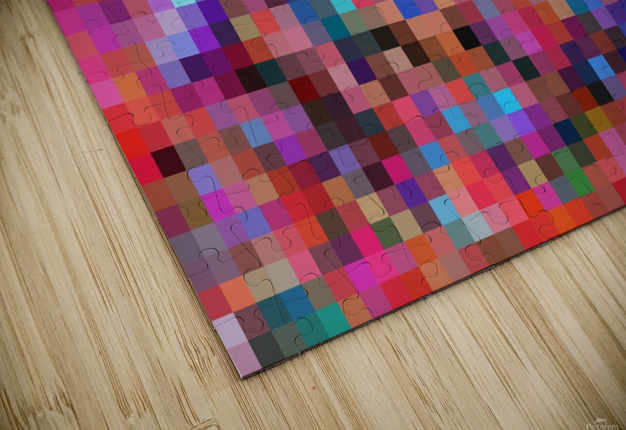 geometric square pixel pattern abstract background in pink blue orange purple HD Sublimation Metal print