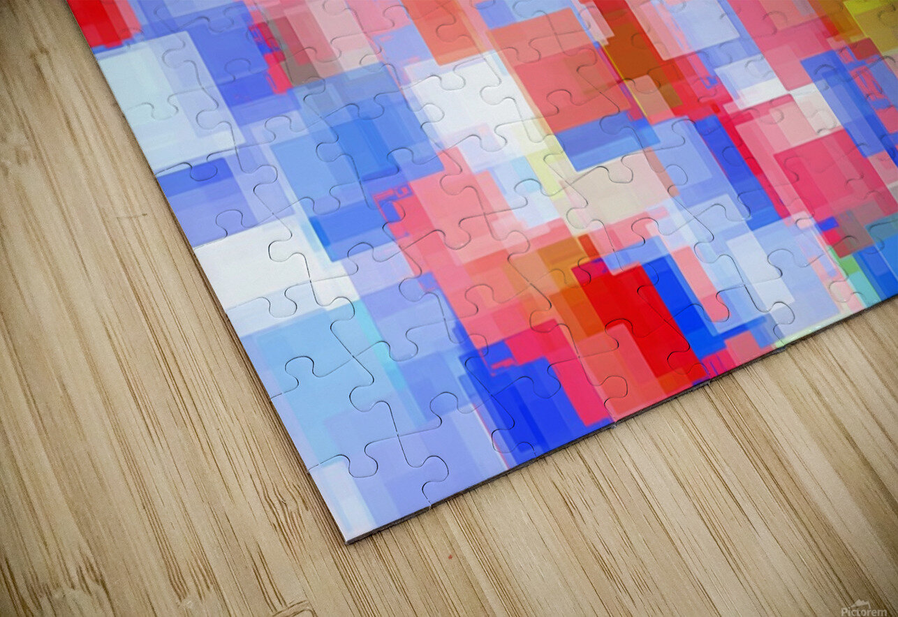 geometric square pattern abstract background in red and blue HD Sublimation Metal print