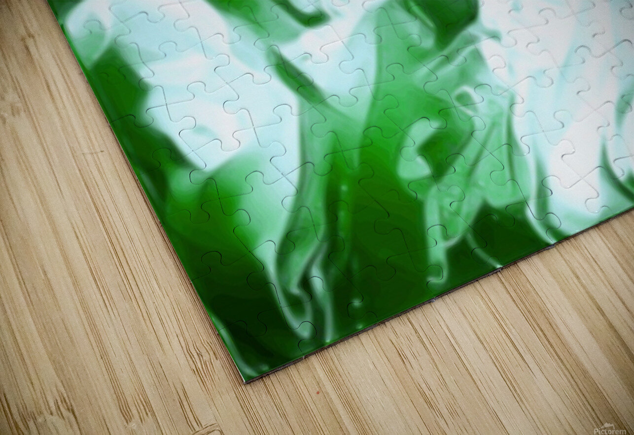 Clover - green white abstract swirl wall art HD Sublimation Metal print