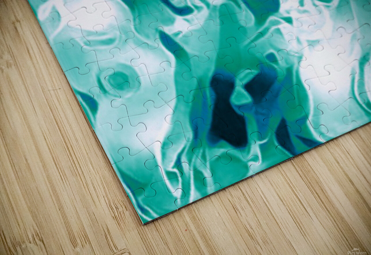 Mint Chocolate Chip Ice Cream - turquoise white blue black swirls large abstract wall art HD Sublimation Metal print