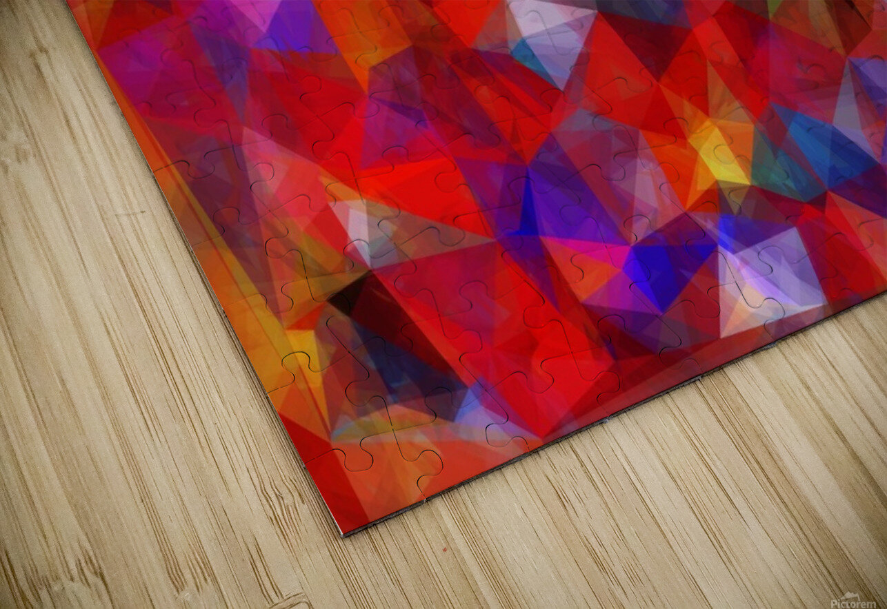 geometric triangle pattern abstract background in red blue yellow HD Sublimation Metal print