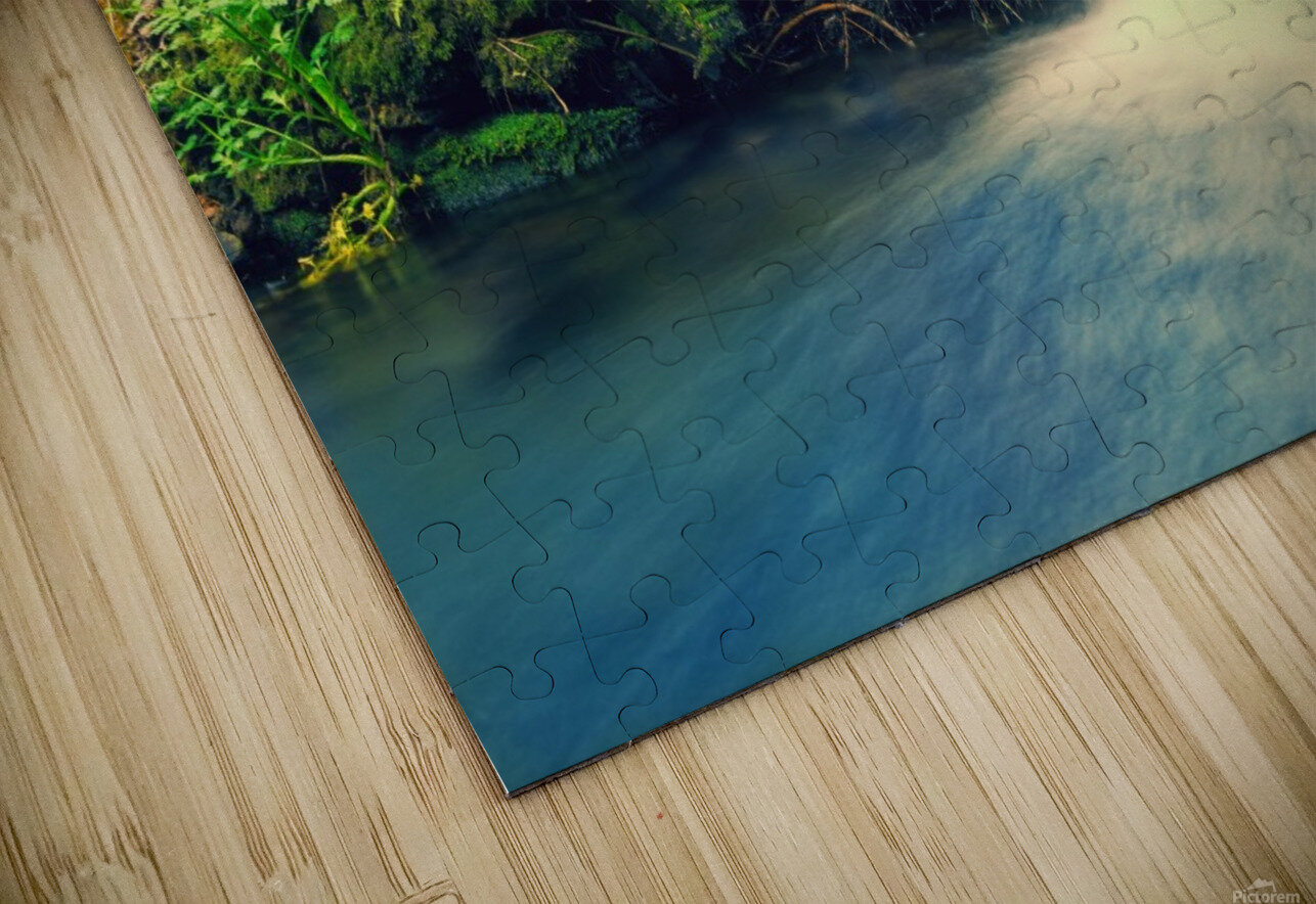 waterfall river nature forest  HD Sublimation Metal print