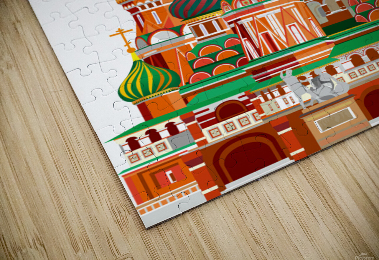 moscow kremlin saint basils cathedral red square l vector illustration moscow building HD Sublimation Metal print