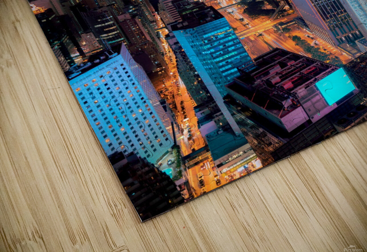 high rise buildings with lights HD Sublimation Metal print