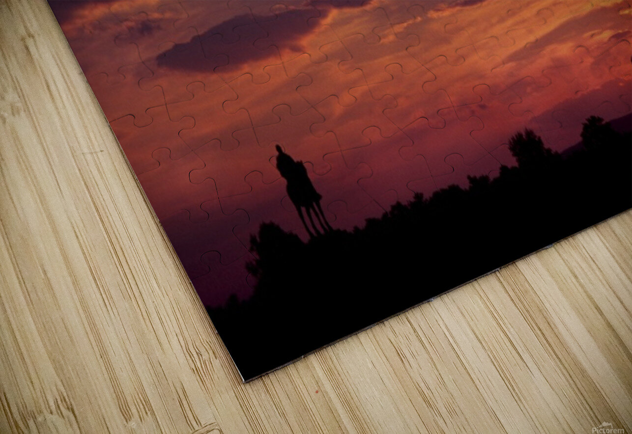 Manasas Battlefields Sunset With Statue Silhouette in left Corner HD Sublimation Metal print