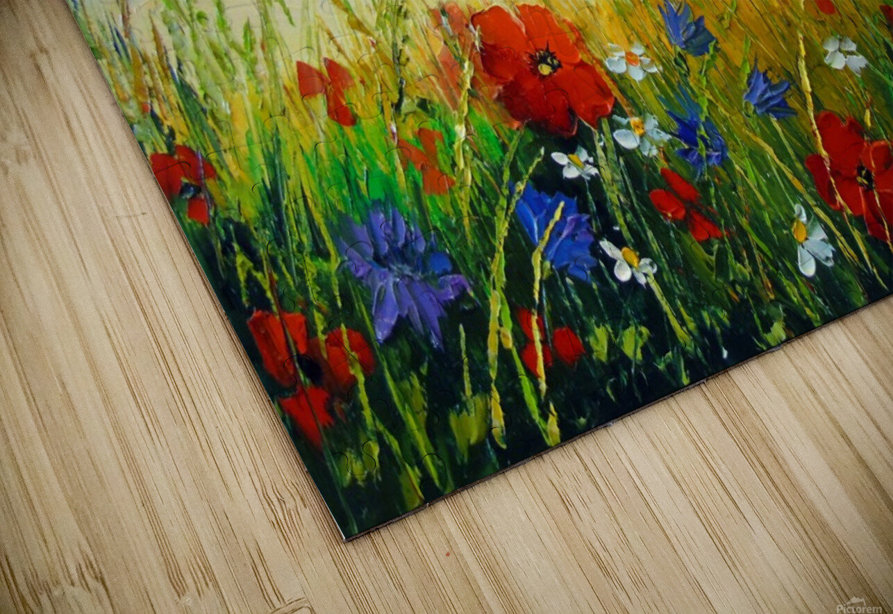 Summer flowers in the oil painting field HD Sublimation Metal print