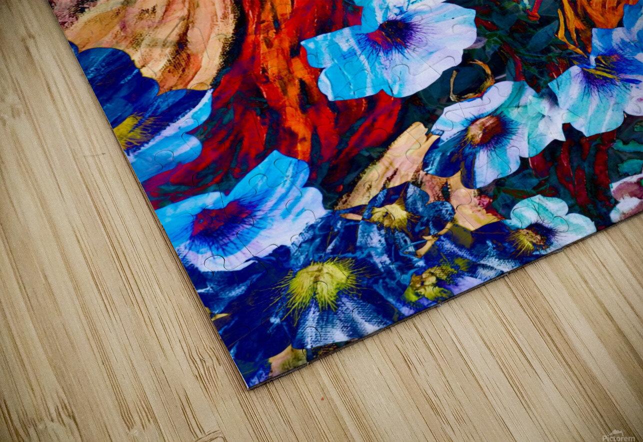 floral mottled indigo HD Sublimation Metal print