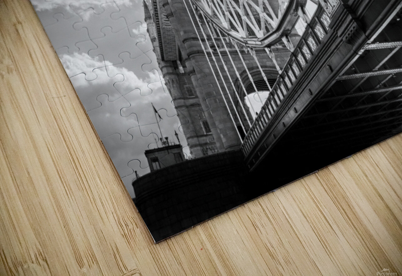 The Might of Tower Bridge Black and White HD Sublimation Metal print