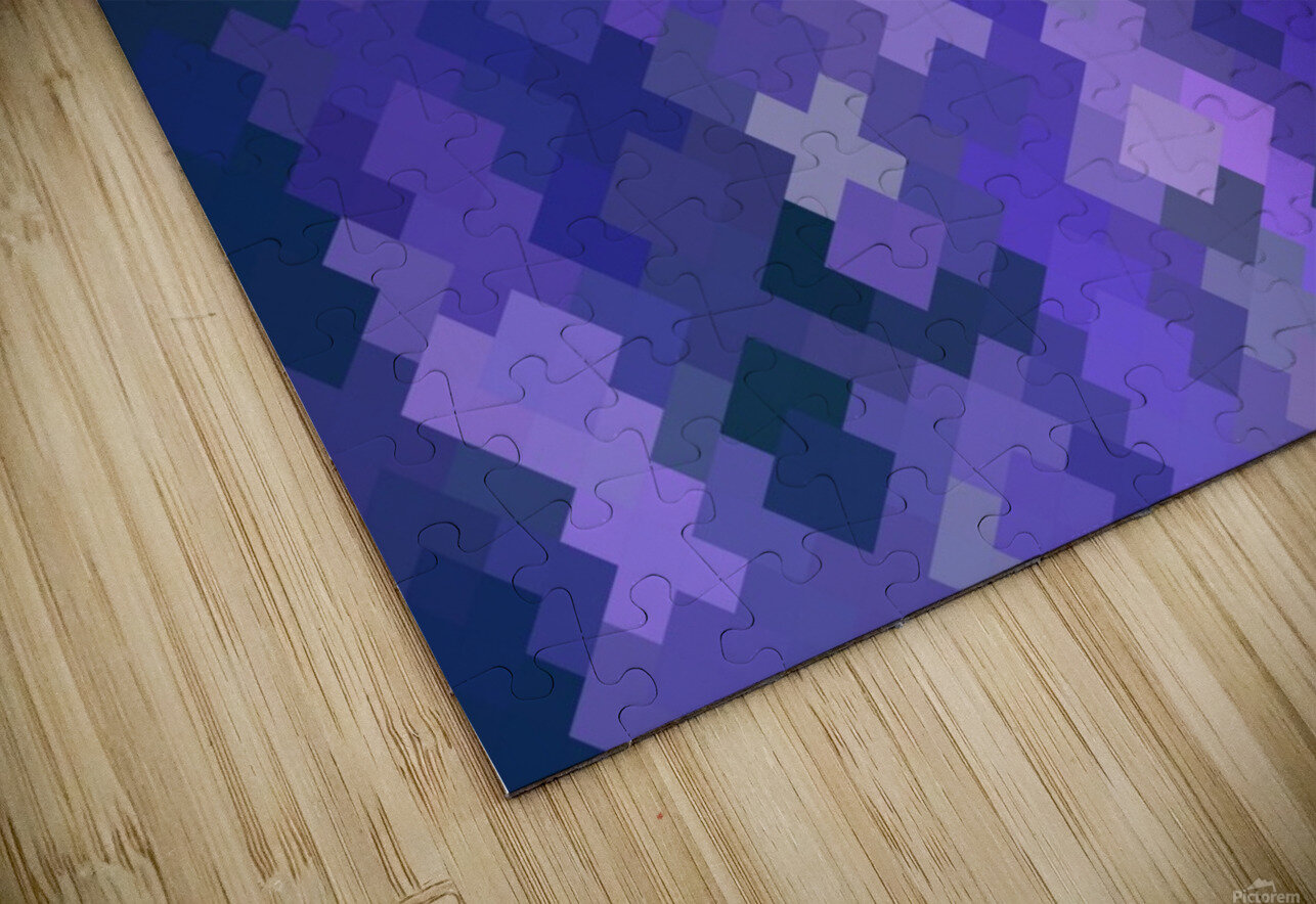 geometric square pixel pattern abstract in purple HD Sublimation Metal print