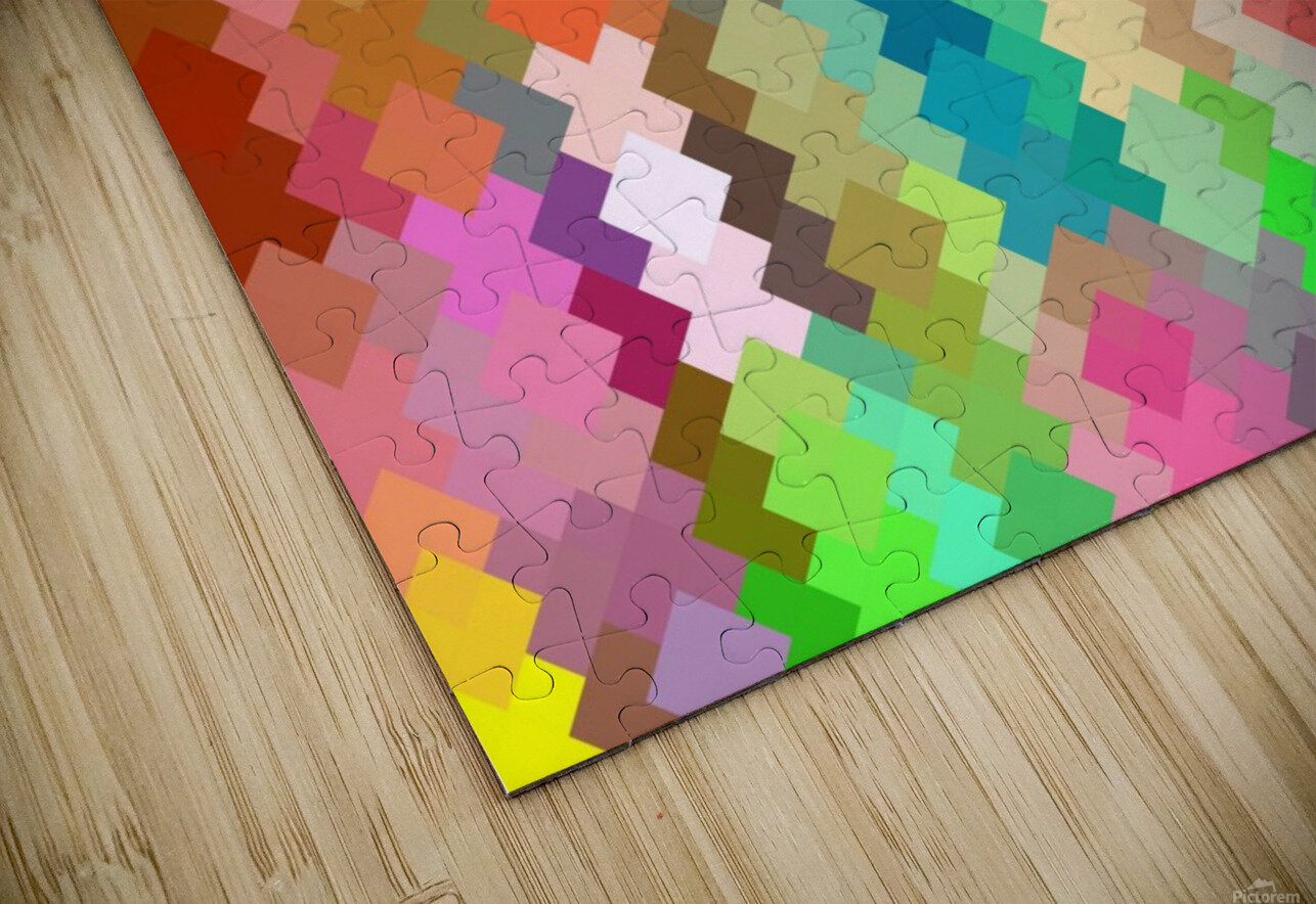 geometric square pixel pattern abstract in red blue green yellow HD Sublimation Metal print