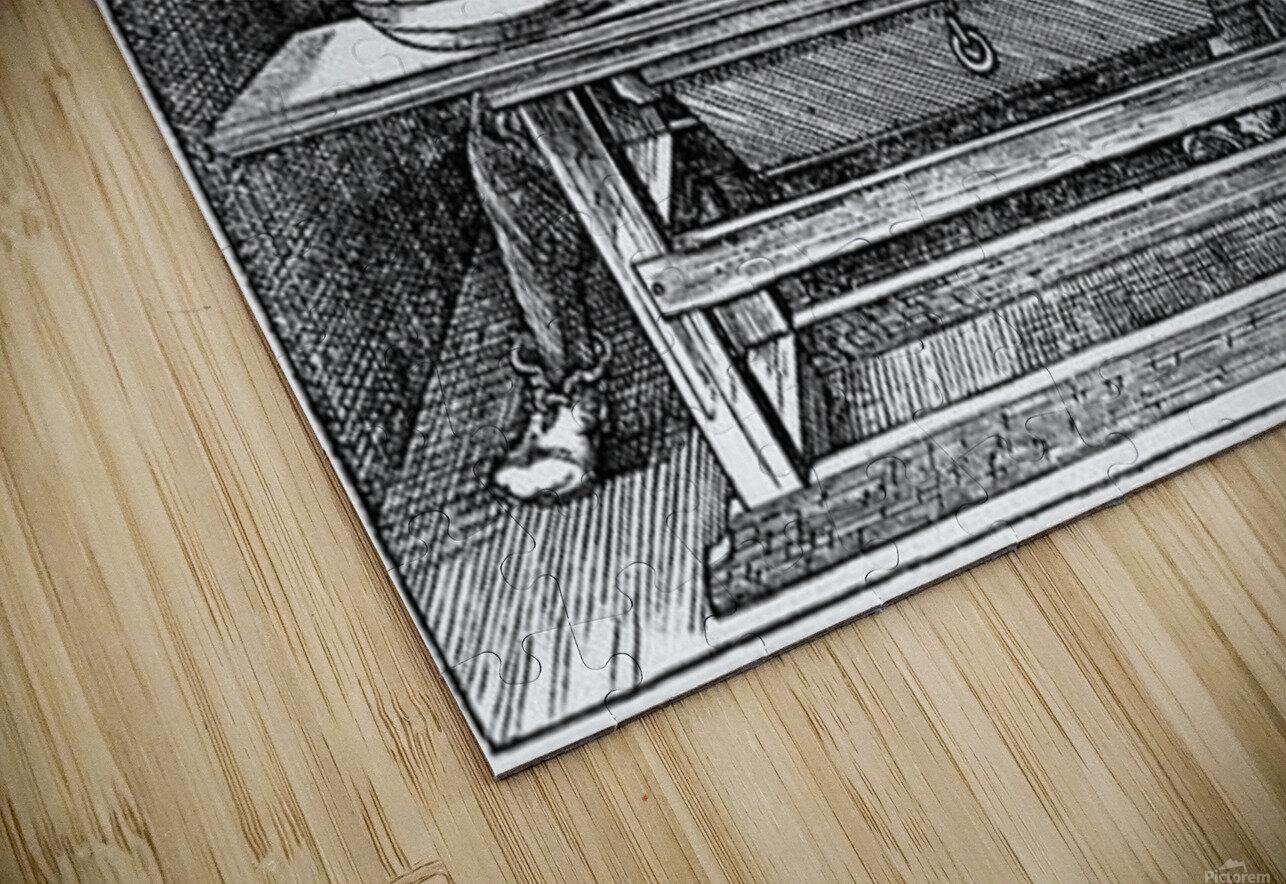 Man drawing a Lute HD Sublimation Metal print