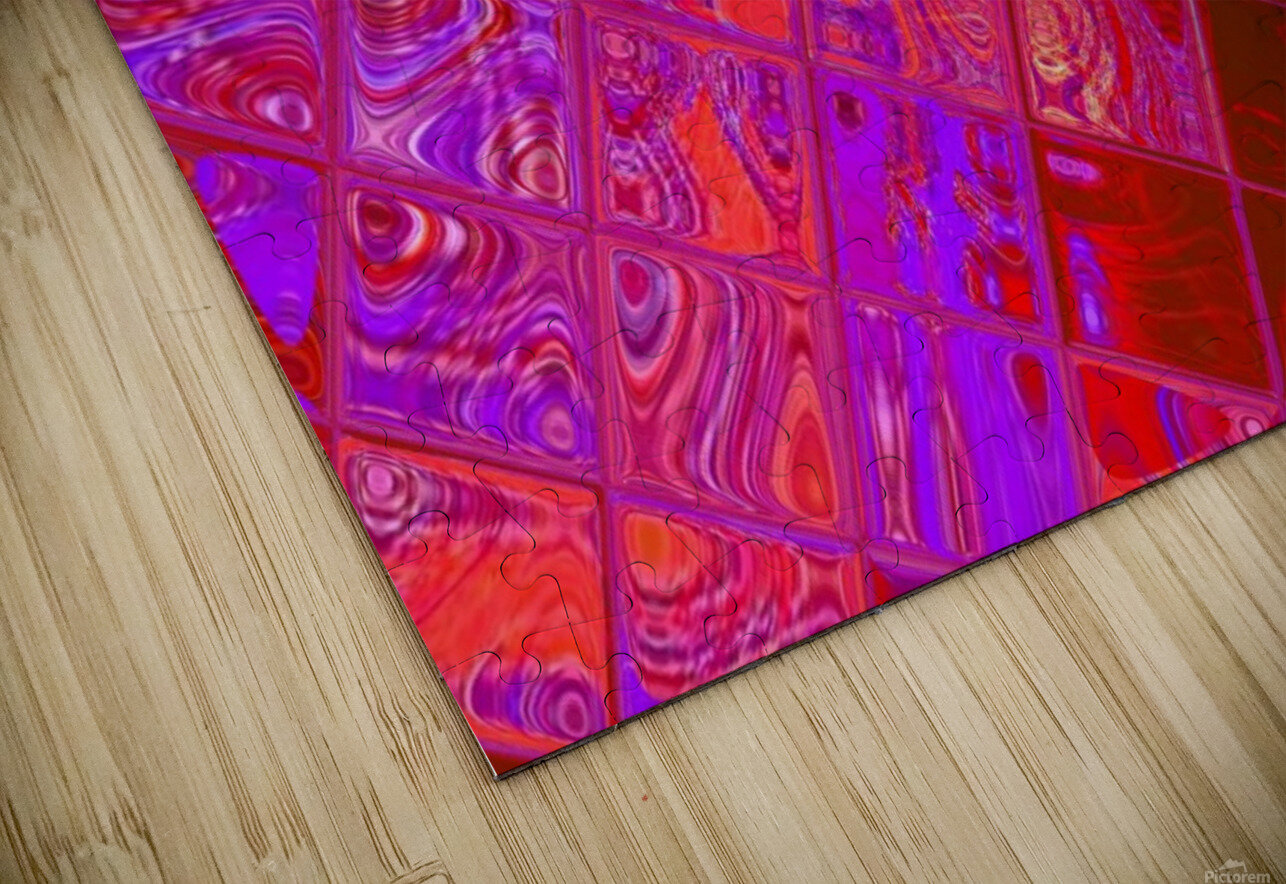 Red Psychedelic Squares 1 HD Sublimation Metal print