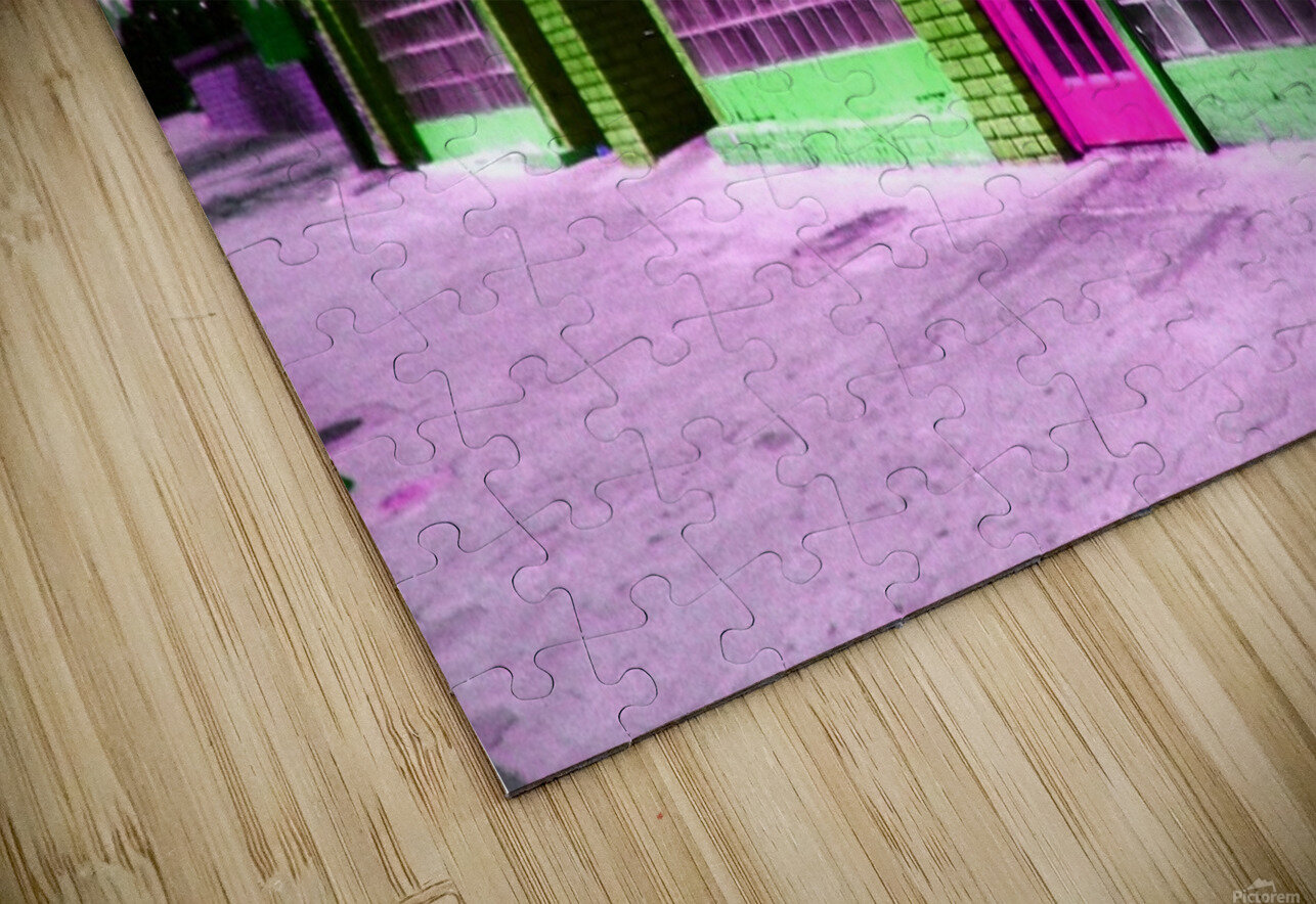 Atlanta Street Scene -- Fuchsia & Lime HD Sublimation Metal print