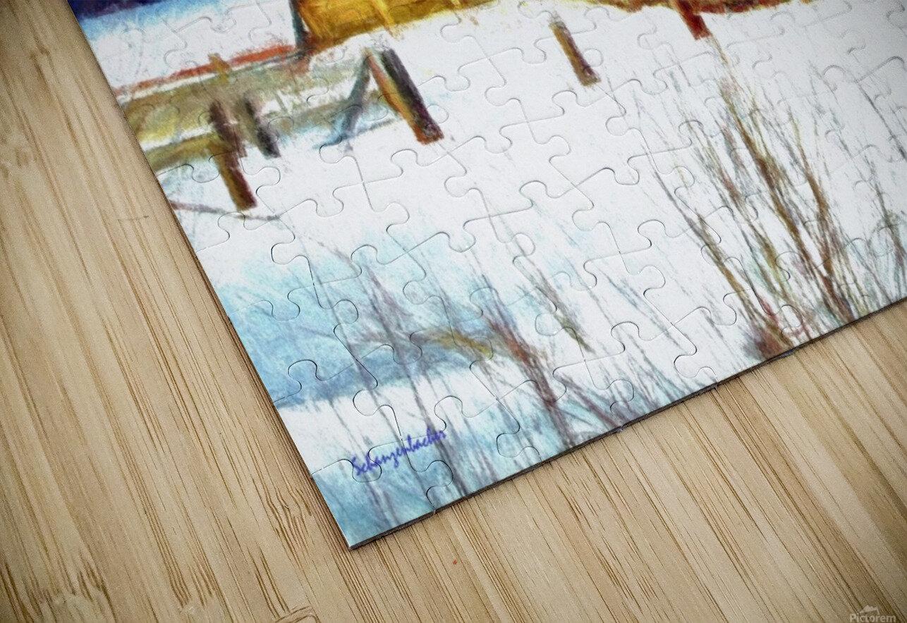 Winter Homestead Watercolor  HD Sublimation Metal print