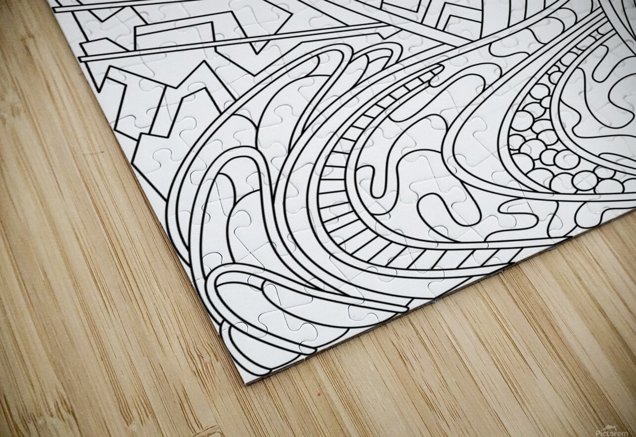 Wandering Abstract Line Art 01: Black & White HD Sublimation Metal print