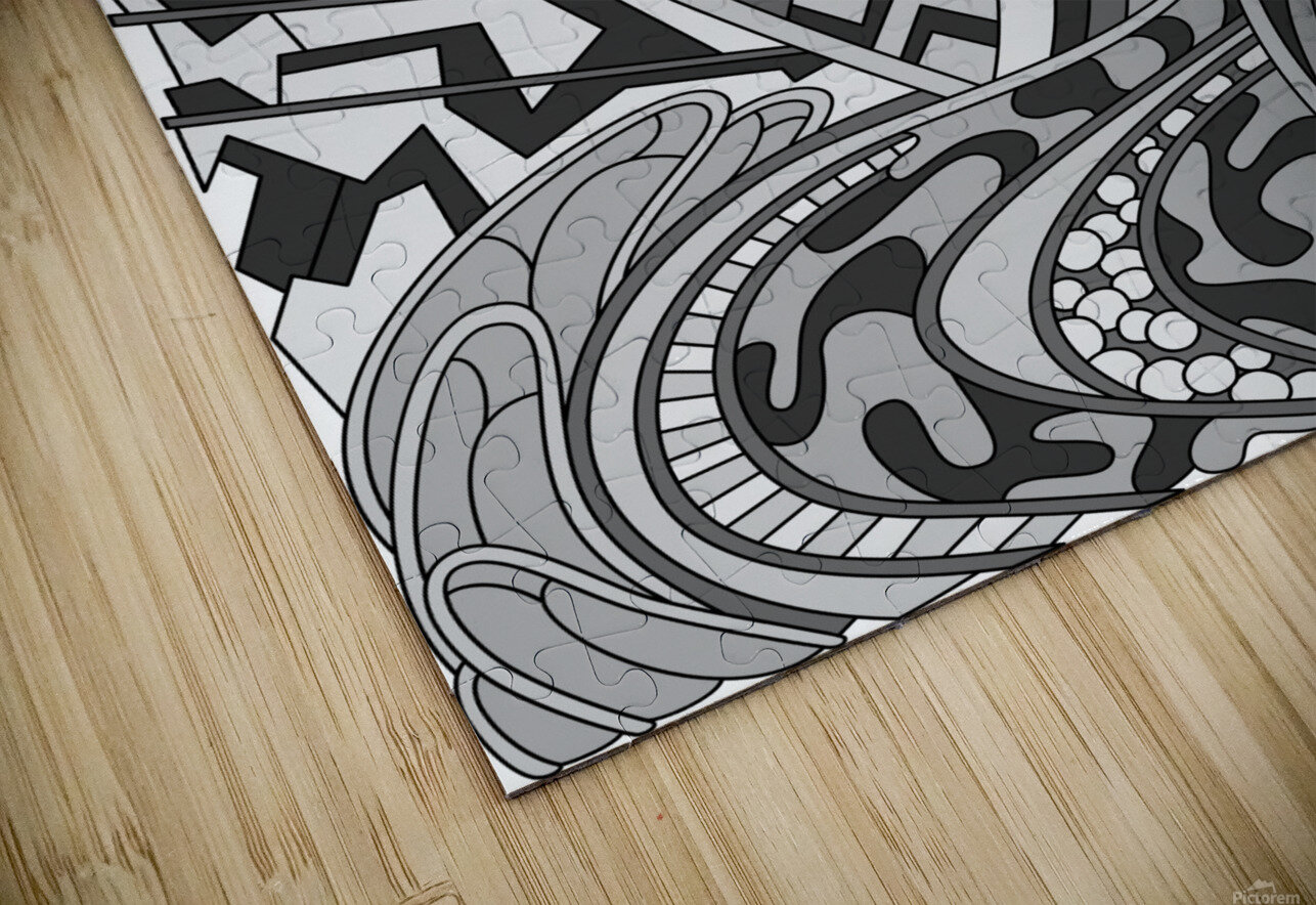 Wandering Abstract Line Art 01: Grayscale HD Sublimation Metal print