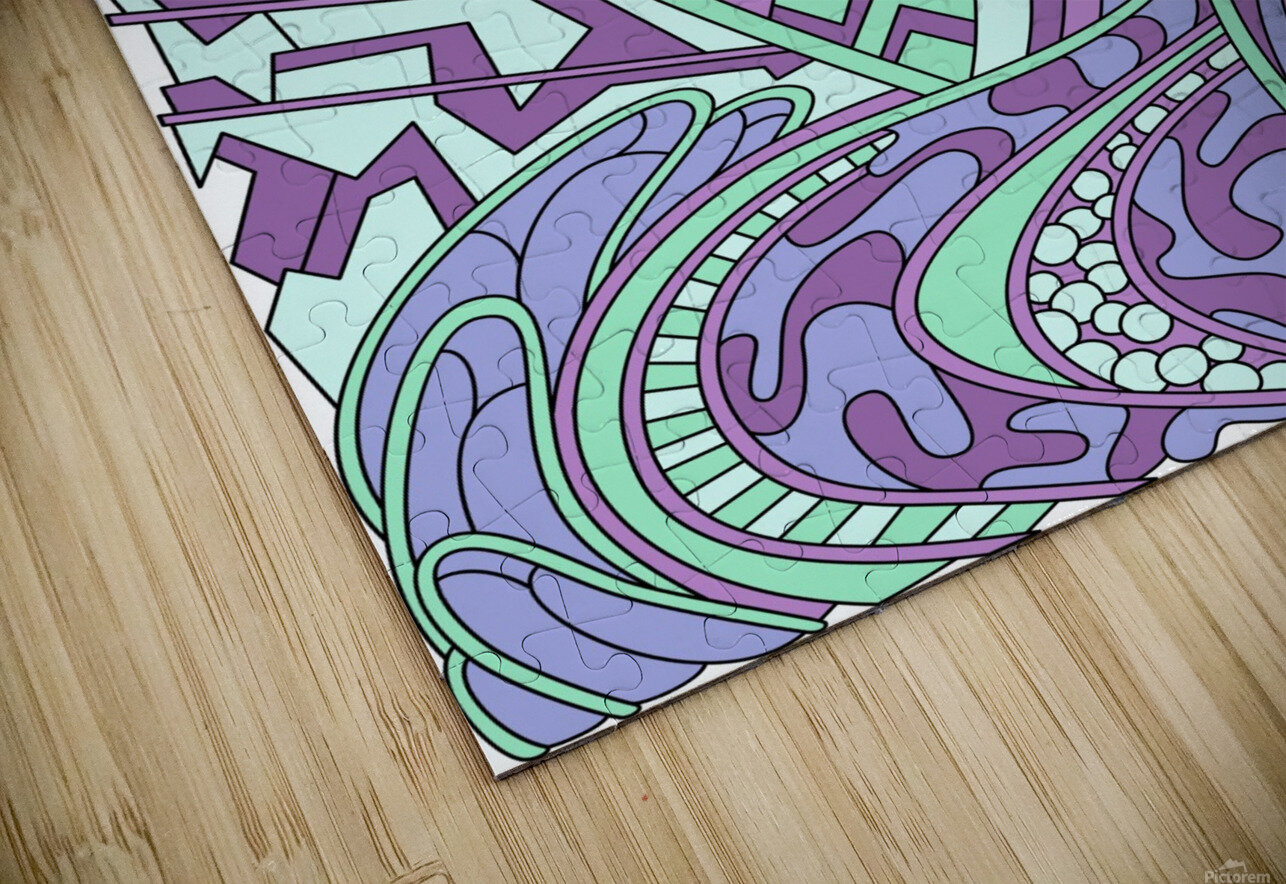 Wandering Abstract Line Art 01: Purple HD Sublimation Metal print