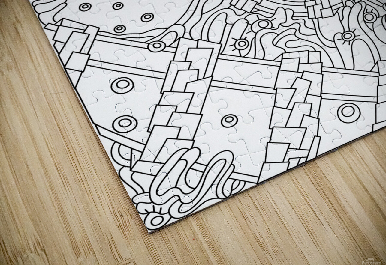 Wandering Abstract Line Art 02: Black & White HD Sublimation Metal print