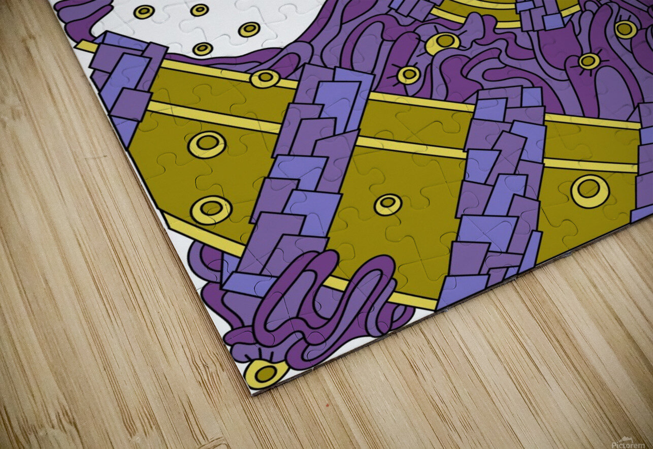Wandering Abstract Line Art 02: Purple HD Sublimation Metal print