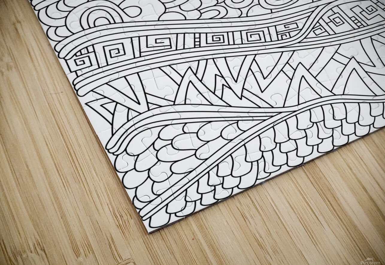 Wandering Abstract Line Art 03: Black & White HD Sublimation Metal print
