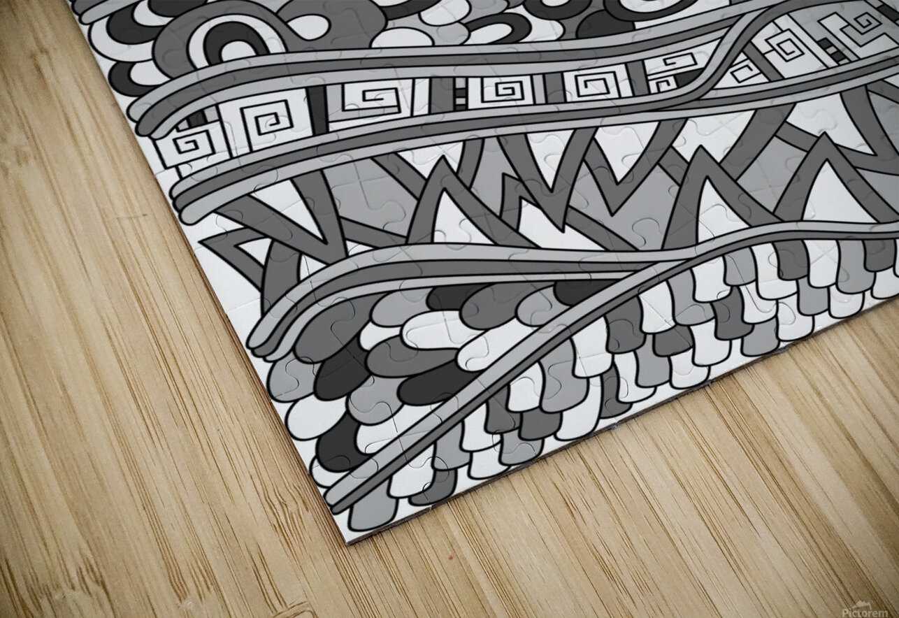 Wandering Abstract Line Art 03: Grayscale HD Sublimation Metal print