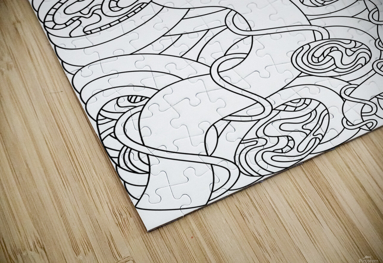 Wandering Abstract Line Art 04: Black & White HD Sublimation Metal print