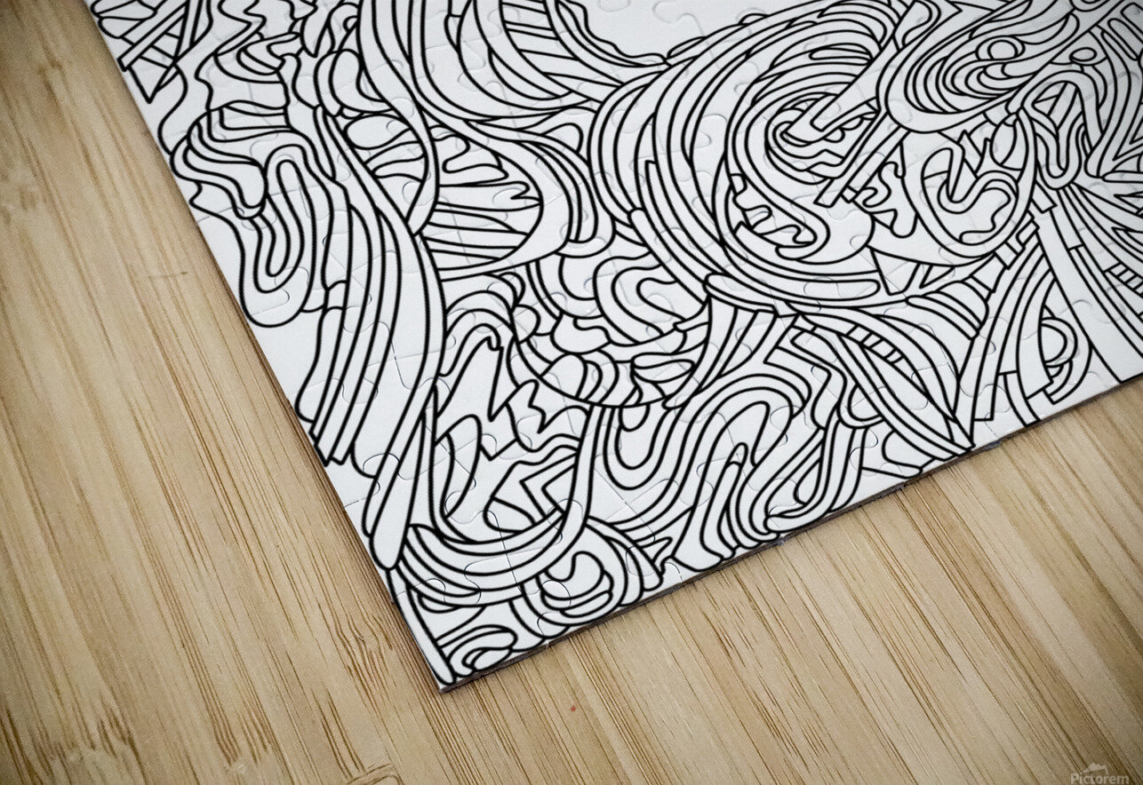 Wandering Abstract Line Art 05: Black & White HD Sublimation Metal print