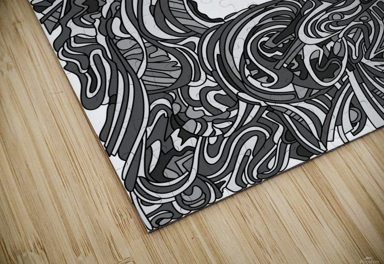 Wandering Abstract Line Art 05: Grayscale HD Sublimation Metal print