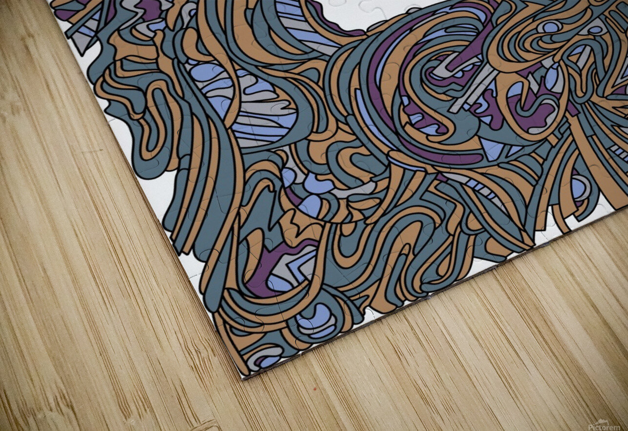 Wandering Abstract Line Art 05: Yellow HD Sublimation Metal print