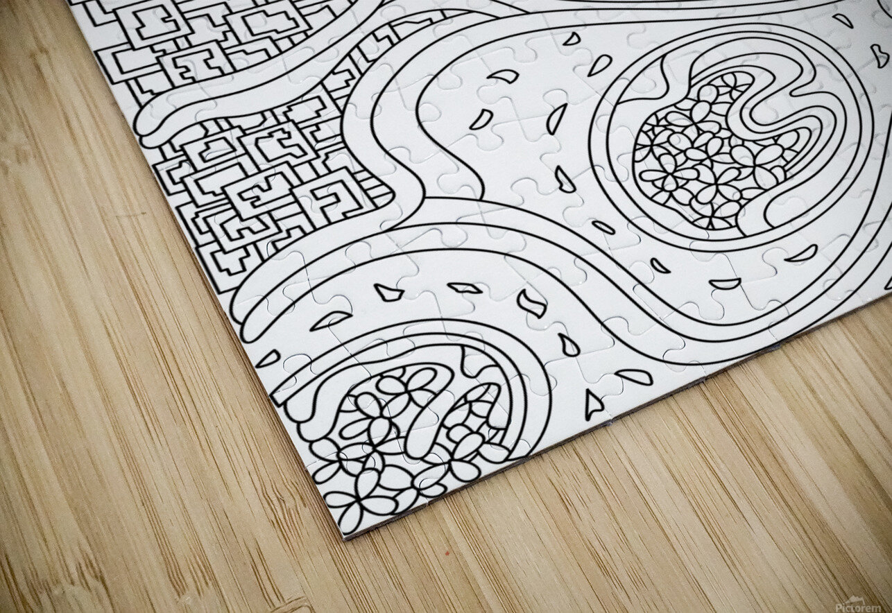 Wandering Abstract Line Art 06: Black & White HD Sublimation Metal print