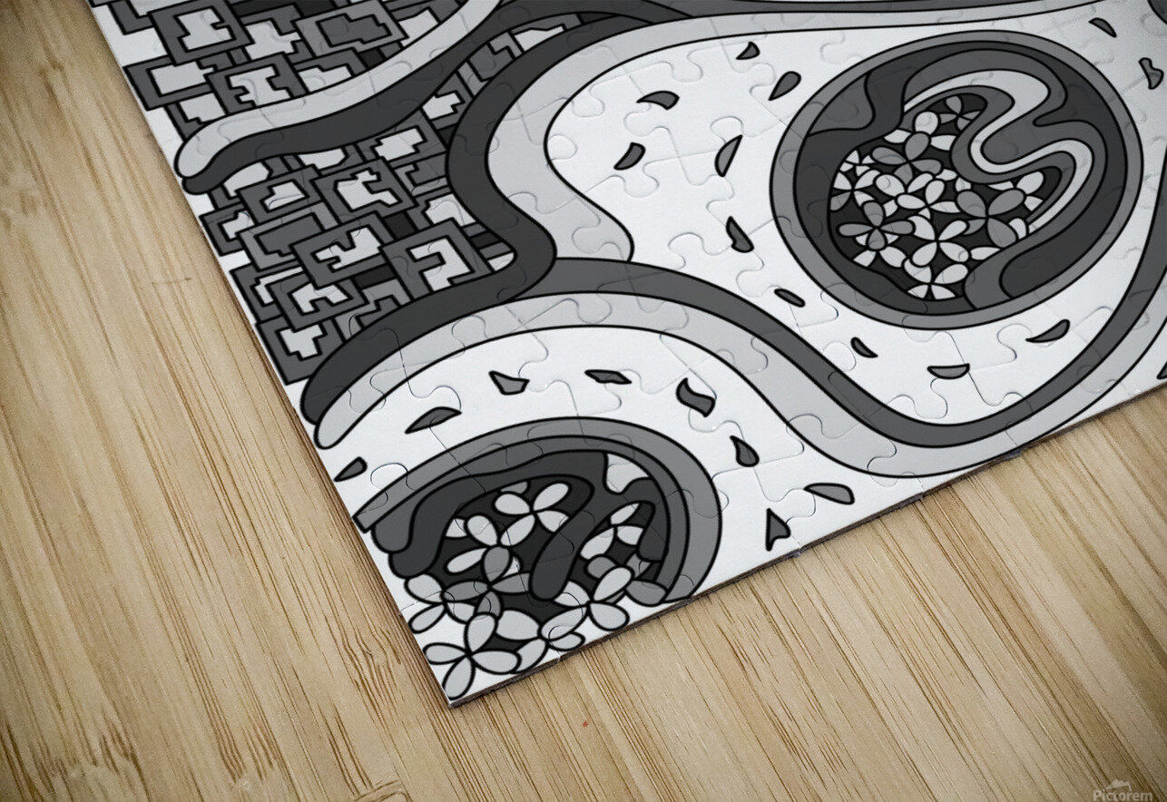 Wandering Abstract Line Art 06: Grayscale HD Sublimation Metal print