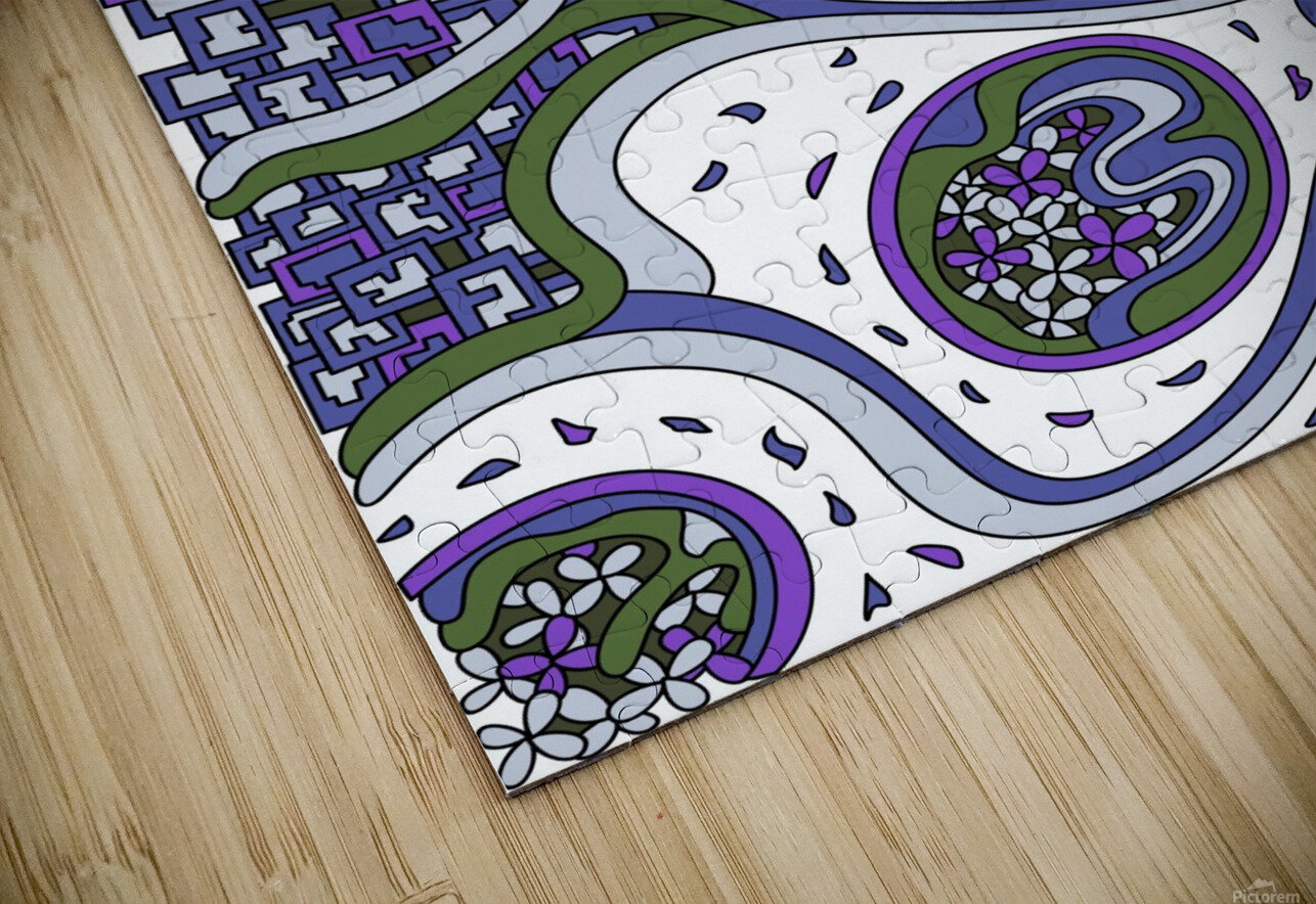 Wandering Abstract Line Art 06: Purple HD Sublimation Metal print