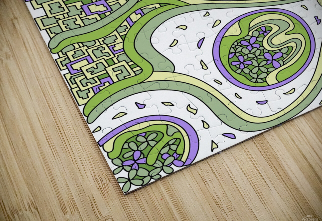 Wandering Abstract Line Art 06: Green HD Sublimation Metal print