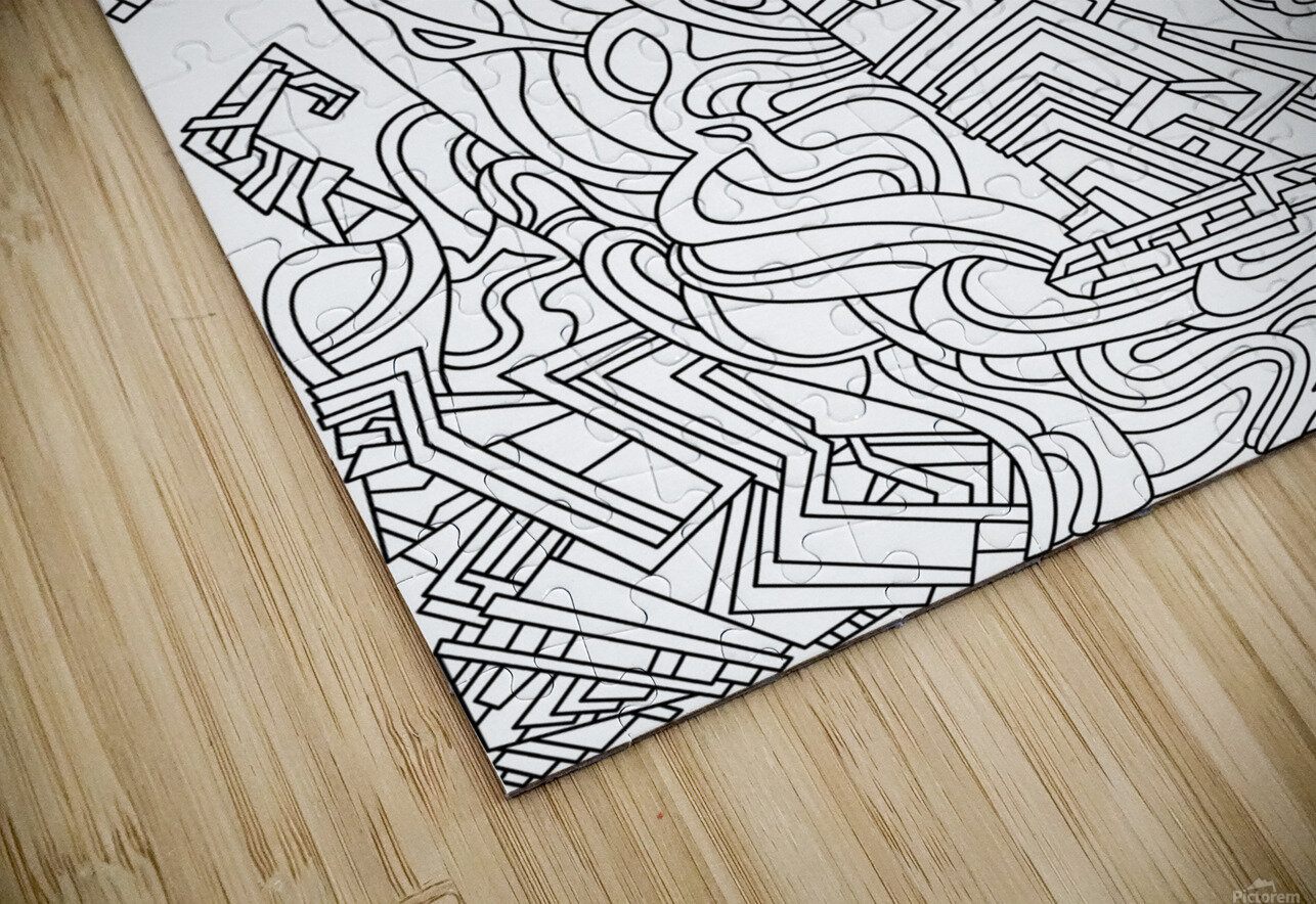 Wandering Abstract Line Art 08: Black & White HD Sublimation Metal print