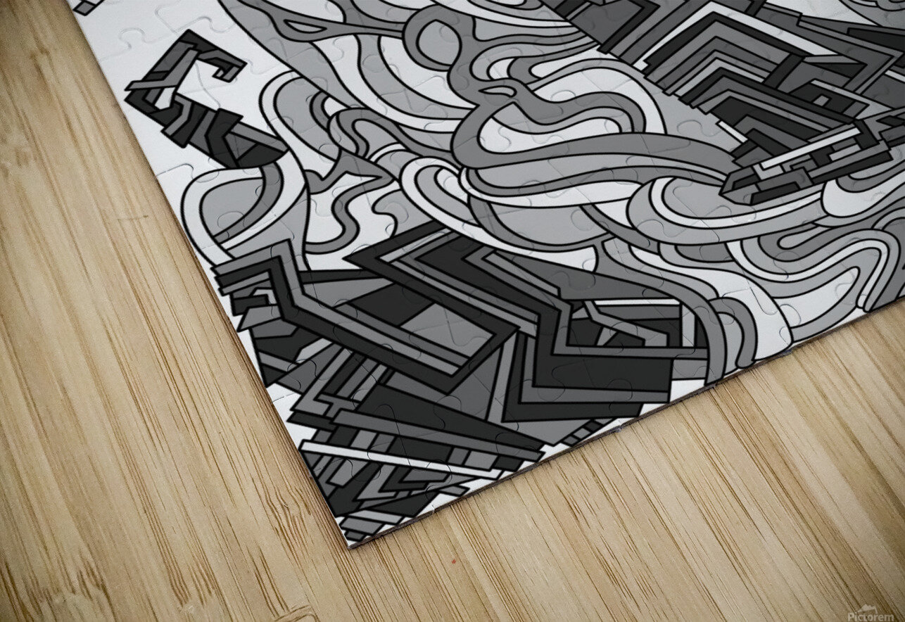 Wandering Abstract Line Art 08: Grayscale HD Sublimation Metal print