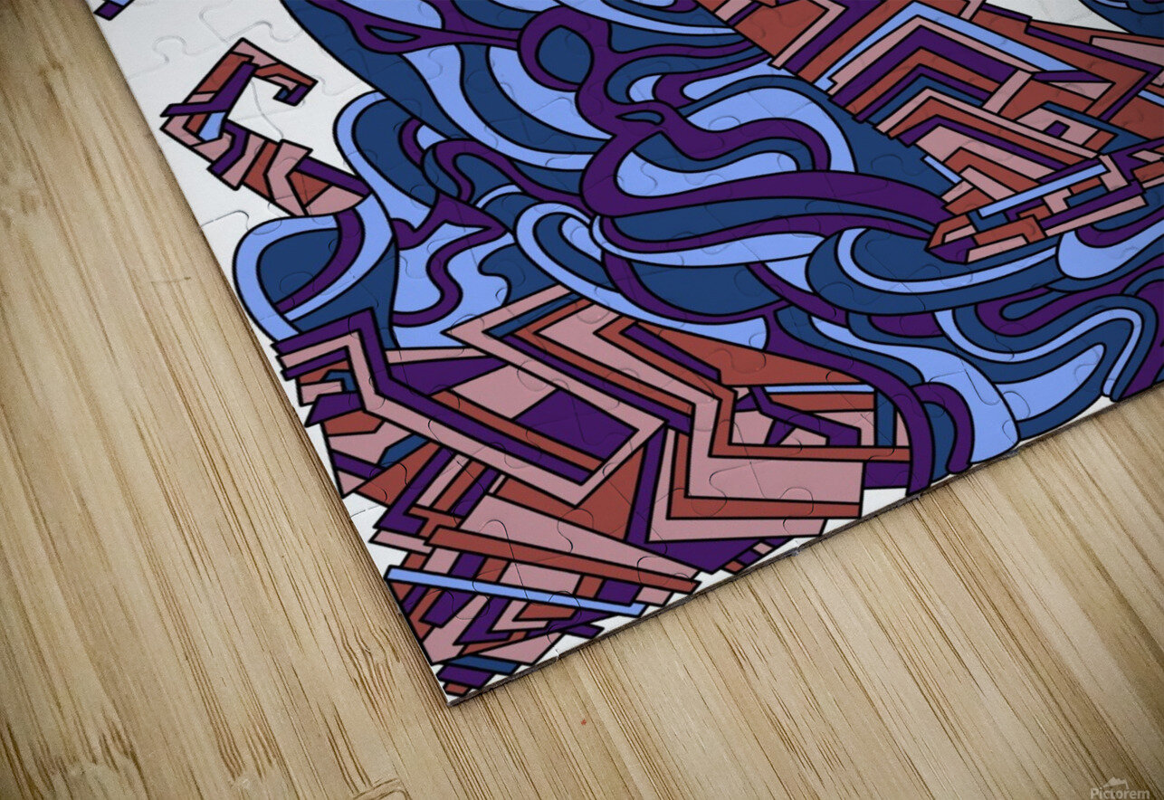 Wandering Abstract Line Art 08: Purple HD Sublimation Metal print
