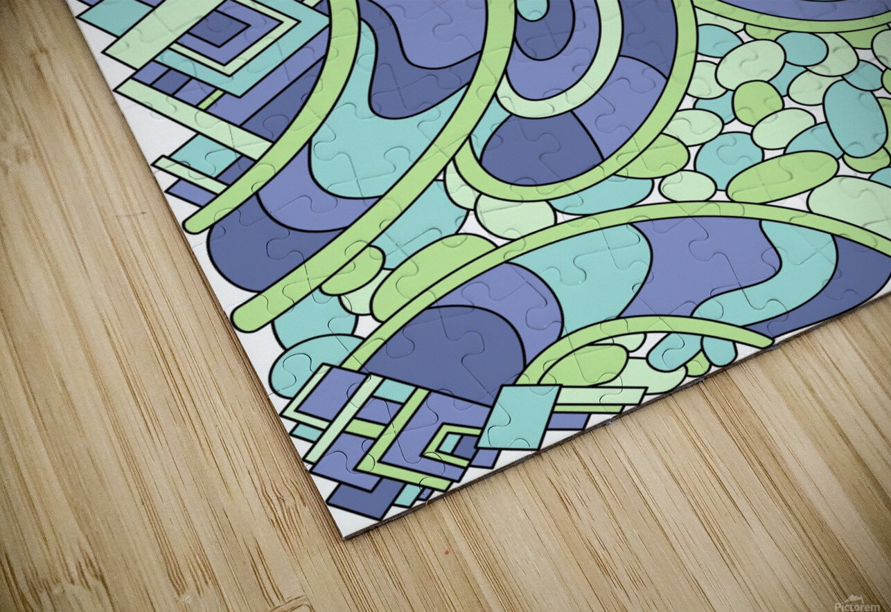 Wandering Abstract Line Art 09: Green HD Sublimation Metal print