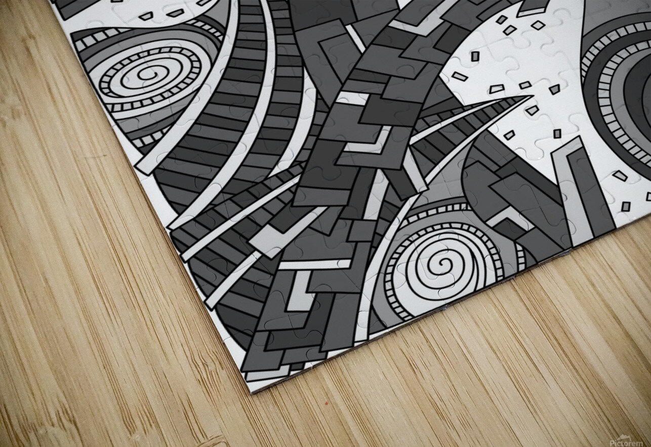 Wandering Abstract Line Art 10: Grayscale HD Sublimation Metal print
