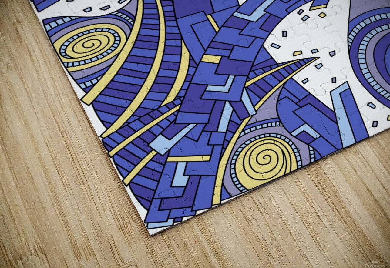 Wandering Abstract Line Art 10: Sapphire HD Sublimation Metal print