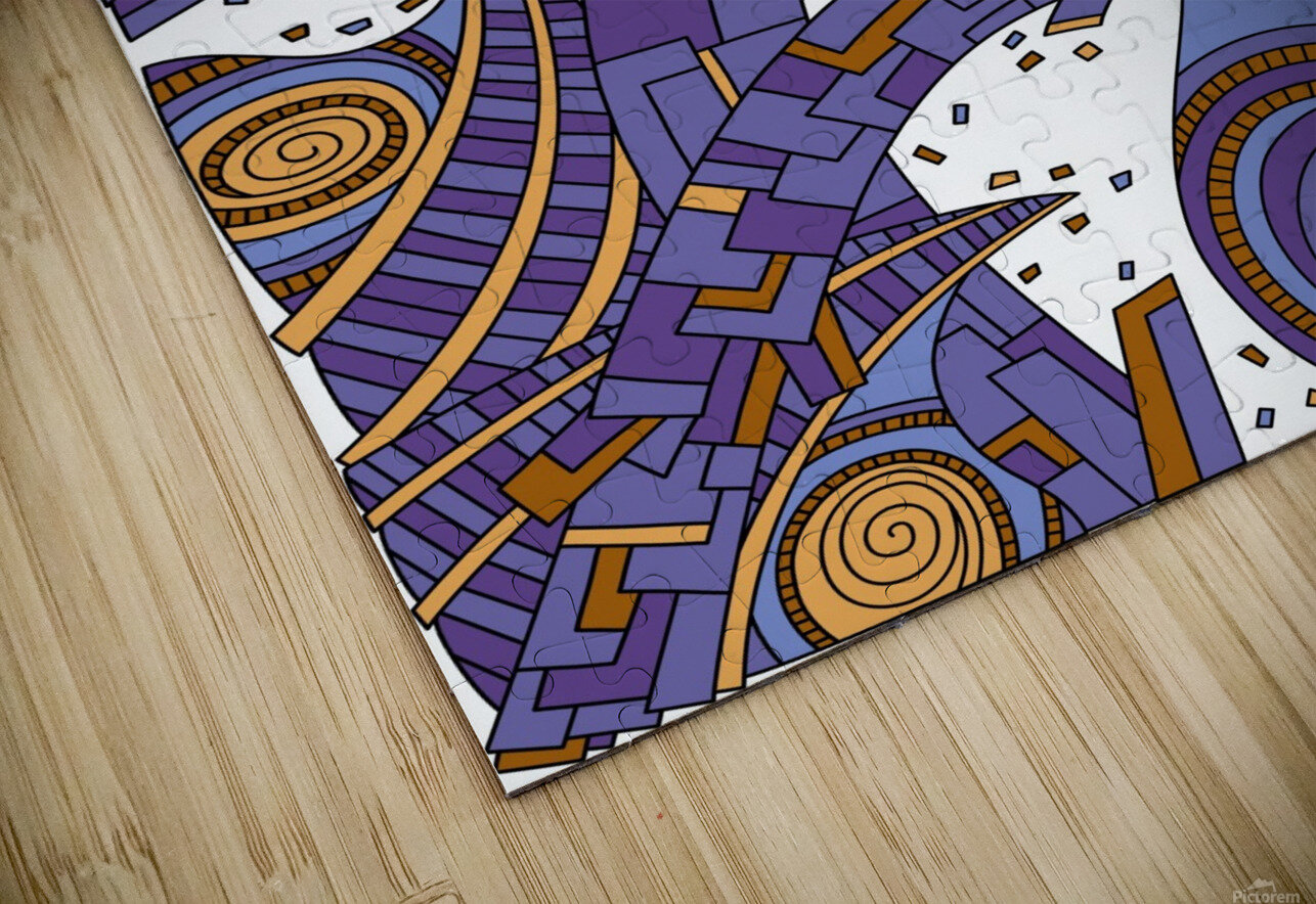 Wandering Abstract Line Art 10: Purple HD Sublimation Metal print