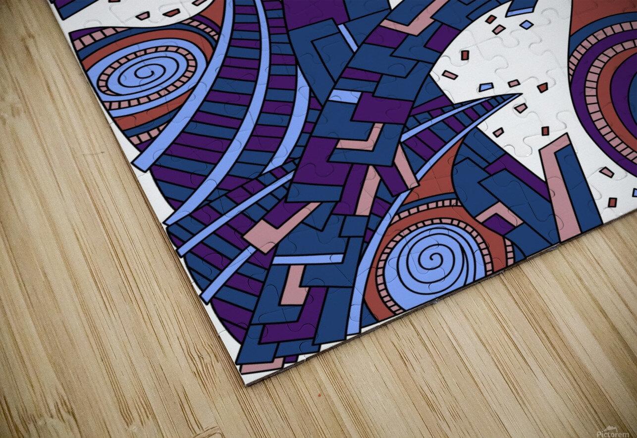 Wandering Abstract Line Art 10: Orange HD Sublimation Metal print
