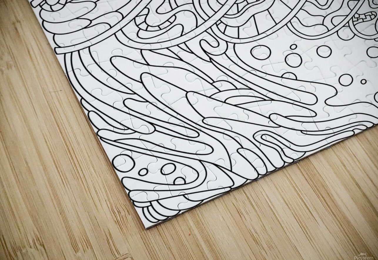 Wandering Abstract Line Art 11: Black & White HD Sublimation Metal print